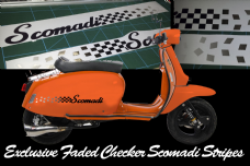 Scomadi TL125 TL50 side panel stripe sticker kit  Fade Chequers Checkers